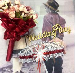 Подвязка для невесты марсала