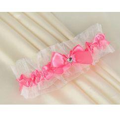 Подвязка для невесты розовая