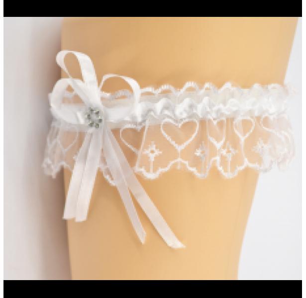 Подвязка для невесты белая с камнем