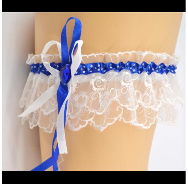 Подвязка для невесты синяя