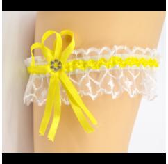 Подвязка для невесты желтая