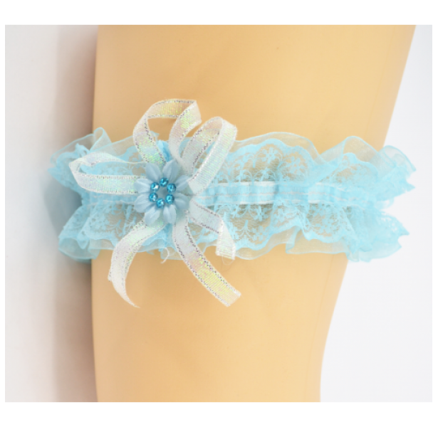 Подвязка для невесты бирюзовая