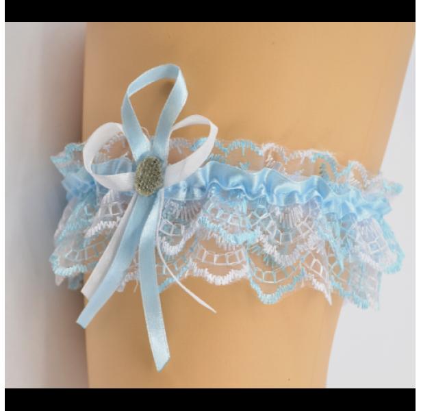 Подвязка для невесты голубая