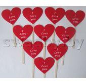 Таблички в форме сердца I Love you