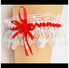 Подвязка для невесты красная кружевная